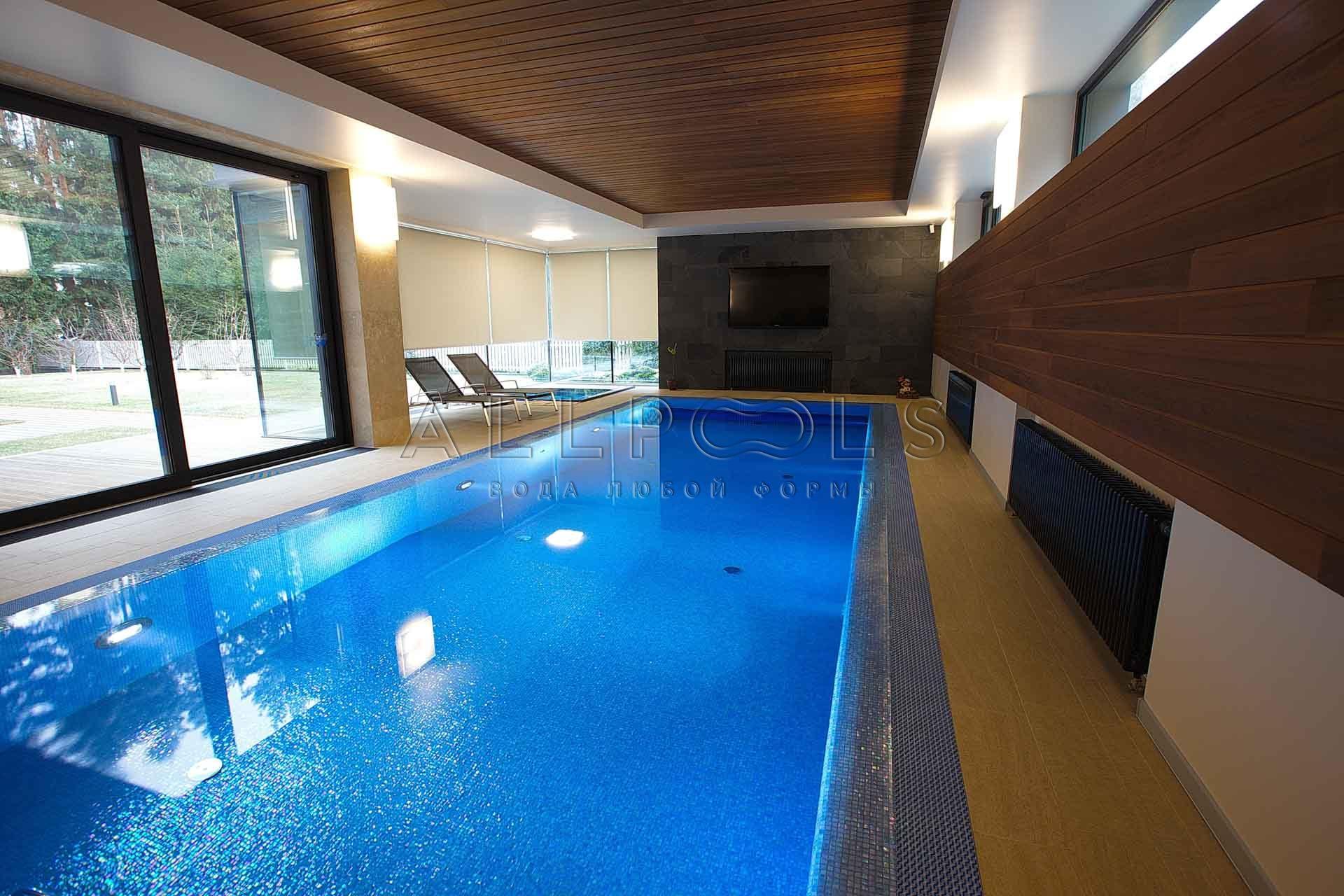Бассейн для плавания с телевизором в частном доме