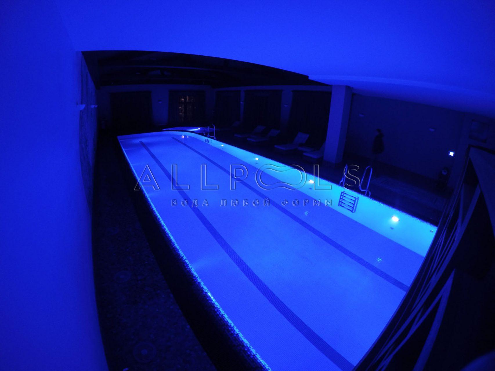 Частный бассейн с 2 дорожками, джакузи и освещением